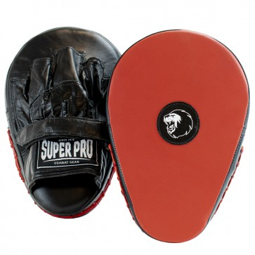Super Pro Lederen Flat Hook and Jab Pad Zwart/Rood (Trapstoot)