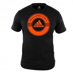 adidas T-Shirt Combat Sports Zwart/Oranje Small