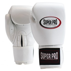 SPBG105-10900- Super Pro Combat Gear Thai-Pro Lederen (Thai)bokshandschoenen Wit/Zwart