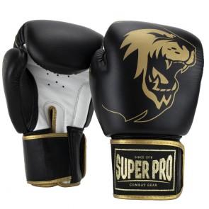 Super Pro Combat Gear Warrior SE Lederen (kick)bokshandschoenen Zwart/Goud/Wit