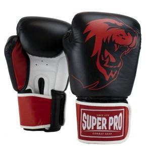 Super Pro Combat Gear Warrior SE Lederen (kick)bokshandschoenen Zwart/Rood/Wit