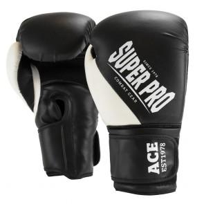 Super Pro Combat Gear ACE (kick)bokshandschoenen Zwart/Wit (Handschoenen)