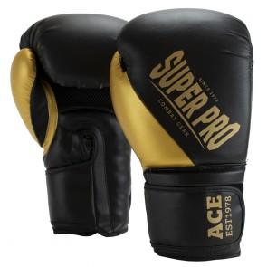Super Pro Combat Gear ACE (kick)bokshandschoenen Zwart/Goud (Handschoenen)