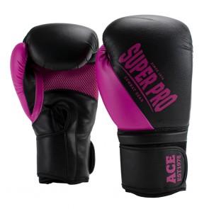 Super Pro Combat Gear ACE (kick)bokshandschoenen Zwart/Roze