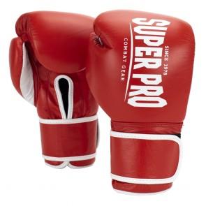 Super Pro Combat Gear Winner Wedstrijdhandschoenen Klittenband Rood/Wit