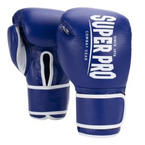Super Pro Combat Gear Winner Wedstrijdhandschoenen Klittenband Blauw/Wit