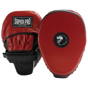 Super Pro Light Weight Gebogen Hook and Jab Pad Zwart/Rood (Trapstoot)