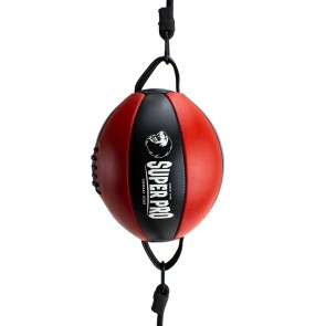 Super Pro Lederen Double End Ball Zwart/Rood