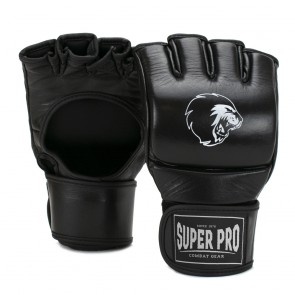 Super Pro Combat Gear Slugger MMA Handschoenen Leder Zwart/Wit