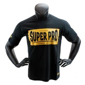 Super Pro T-Shirt S.P. Block-Logo Zwart/Goud (Kleding)